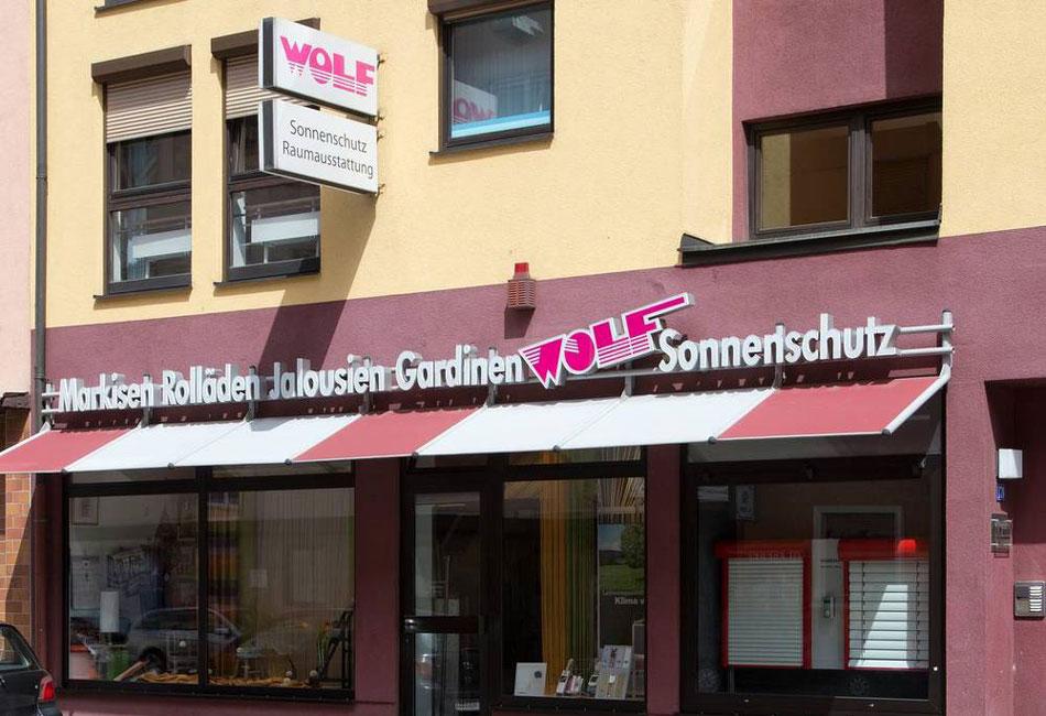 Außenansicht auf den Laden von Wolf Sonnenschutz und Raumgestaltung